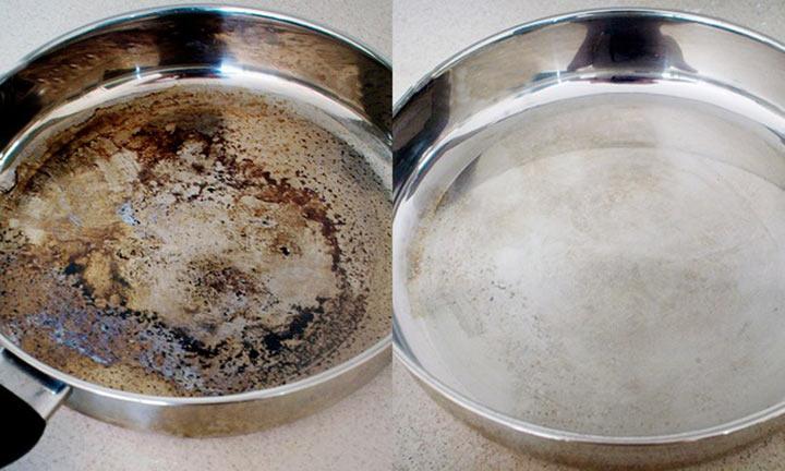 Как очистить пригоревшую кастрюлю до блеска